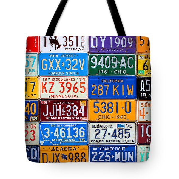 License Plates Of The Usa - Our Colorful American History Tote Bag by Design Turnpike