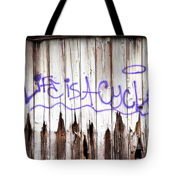 Life Is A Cycle Tote Bag by Amanda Barcon