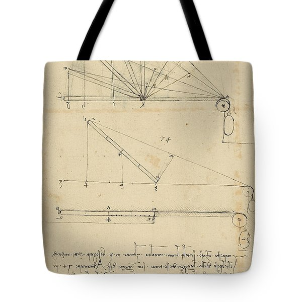 Lifting By Means Of Pulleys Of Beam With Extremity Fixed To Ground From Atlantic Codex Tote Bag by Leonardo Da Vinci