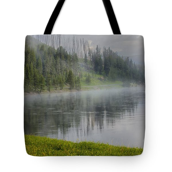 Lifting Fog On The Yellowstone River Tote Bag by Sandra Bronstein