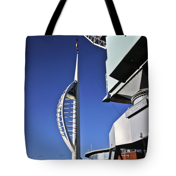 Lifting Portsmouth's Spinnaker Tower Tote Bag by Terri Waters