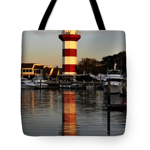Light House At Harbour Town Tote Bag by Dan Friend