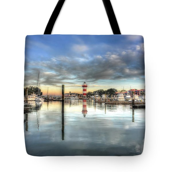 light house harbour town Hilton Head Tote Bag by Dan Friend