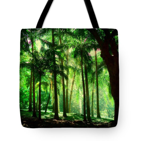 Light In The Jungles. Viridian Greens. Mauritius Tote Bag by Jenny Rainbow