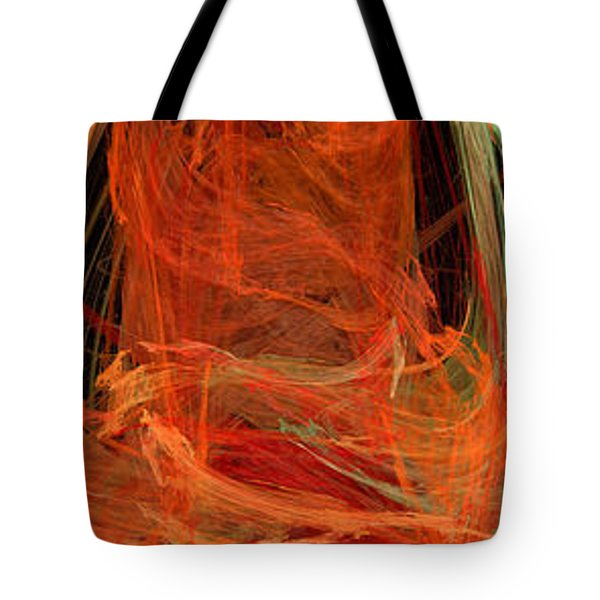 Light The Torch A Flickering Flame - Panorama  - Abstract - Fractal Art Tote Bag by Andee Design