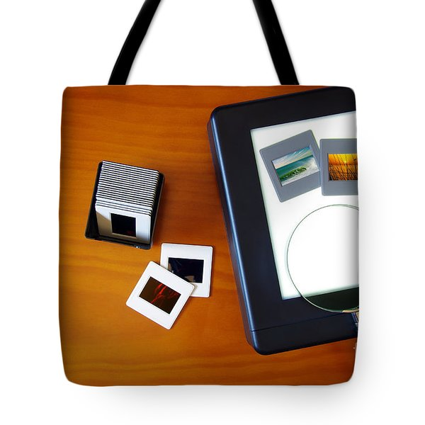 Lightbox With Slides Tote Bag by Carlos Caetano