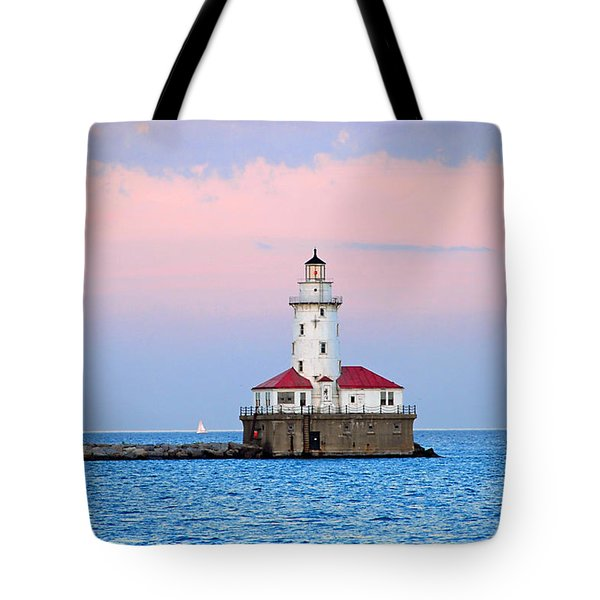 Lighthouse At The Navy Pier Tote Bag by Lynn Bauer