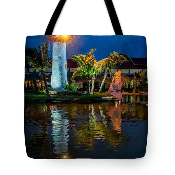 Lighthouse Reflection Tote Bag by Adrian Evans