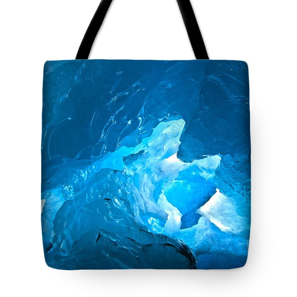 Lighting In Nigardsbreen Glacier Grotto 3 Tote Bag by Heiko Koehrer-Wagner