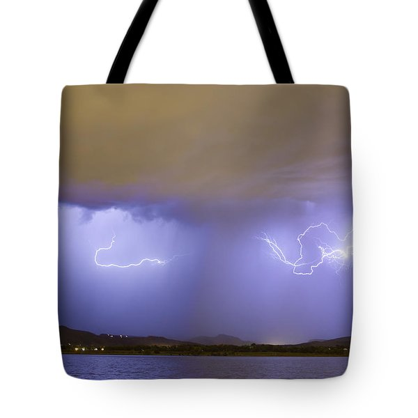 Lightning And Rain Over Rocky Mountain Foothills Tote Bag by James BO  Insogna