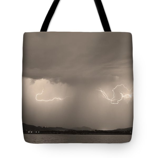 Lightning and Sepia Rain Over Rocky Mountain Foothills Tote Bag by James BO  Insogna