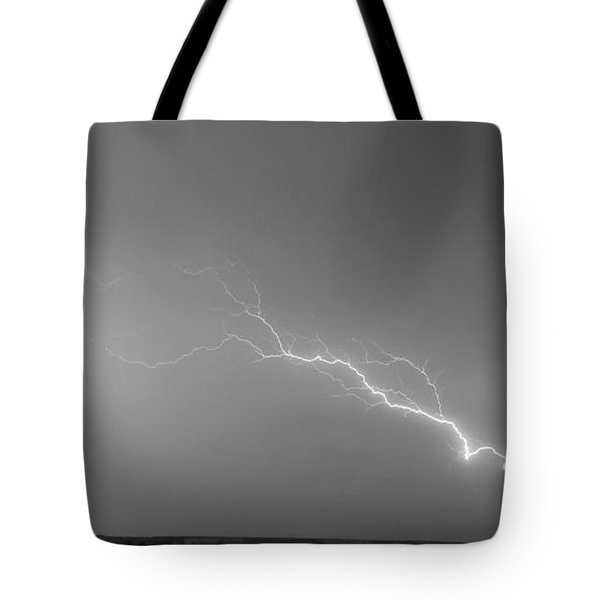 Lightning Bolts Coming In For A Landing Panorama Bw Tote Bag by James BO  Insogna