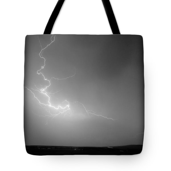 Lightning Goes Boom In The Middle Of The Night Bw Tote Bag by James BO  Insogna