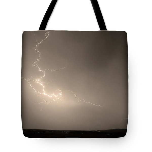 Lightning Goes Boom In The Middle Of The Night Sepia Tote Bag by James BO  Insogna