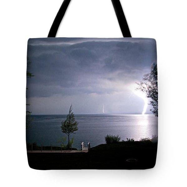 Lightning On Lake Michigan At Night Tote Bag by Mary Lee Dereske