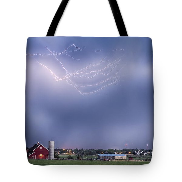 Lightning Storm And The Big Red Barn Tote Bag by James BO  Insogna