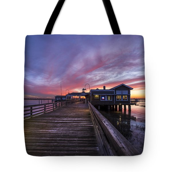 Lights On The Dock Tote Bag by Debra and Dave Vanderlaan