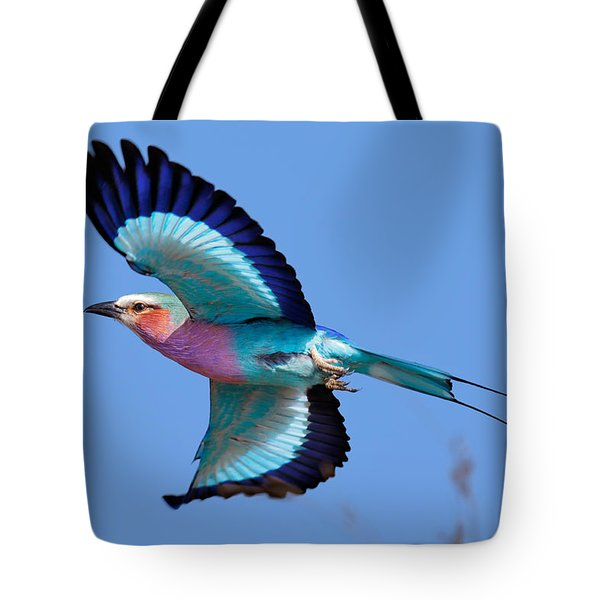 Lilac-breasted Roller In Flight Tote Bag by Johan Swanepoel