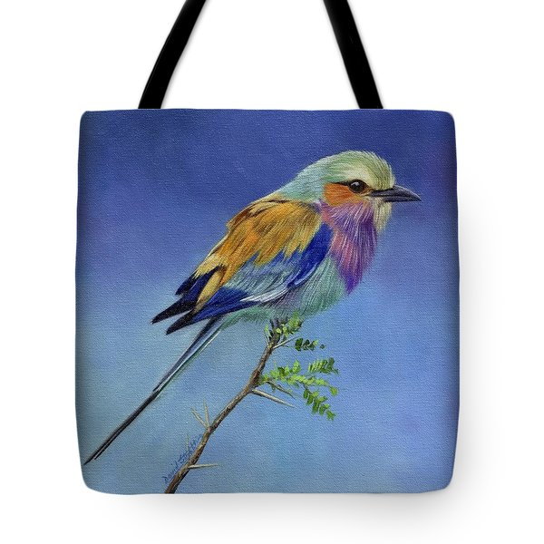 Lilacbreasted Roller Tote Bag by David Stribbling