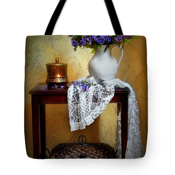 Lilacs and Lace Tote Bag by Diana Angstadt