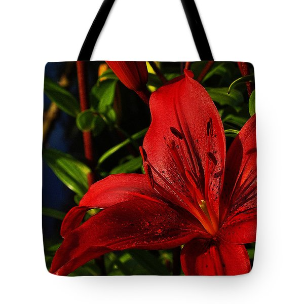 Lilies By The Water Tote Bag by Randy Hall