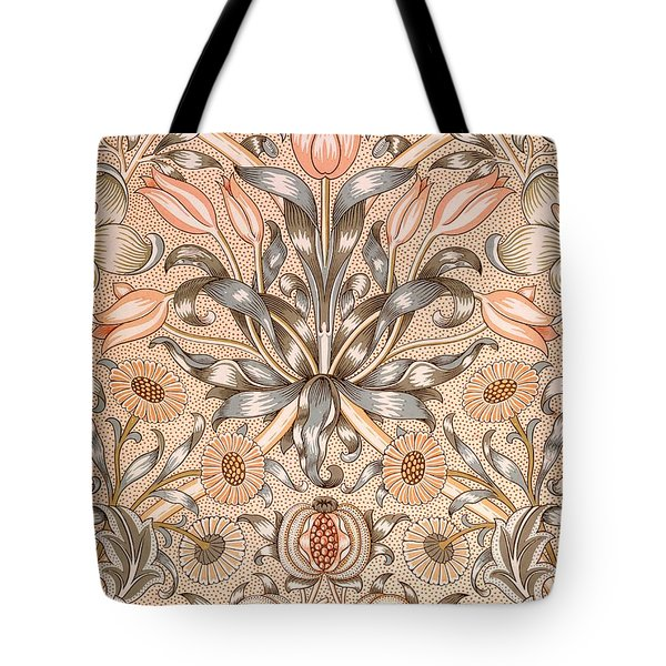 Lily and Pomegranate wallpaper design Tote Bag by William Morris