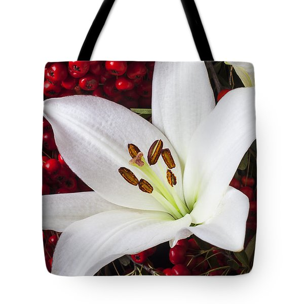 lily and Pyracantha Tote Bag by Garry Gay