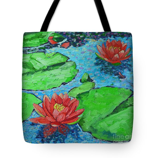 Lily Pond Impression Tote Bag by Ana Maria Edulescu