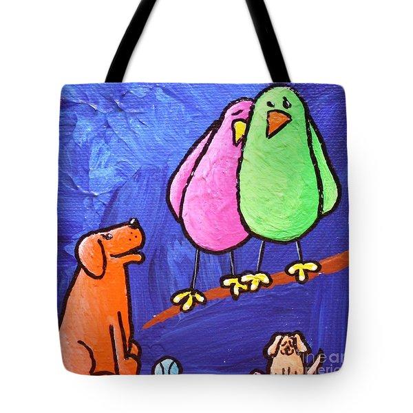 Limb Birds - Big Dog Little Dog Tote Bag by Linda Eversole