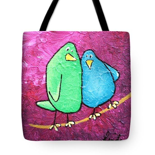 Limb Birds - Green And Turq Tote Bag by Linda Eversole