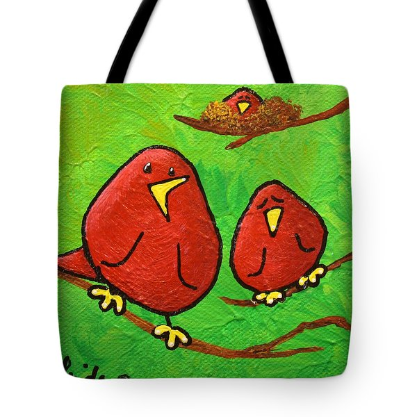 Limb Birds - Red Overhead Tote Bag by Linda Eversole
