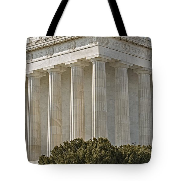Lincoln Memorial Pillars Tote Bag by Susan Candelario
