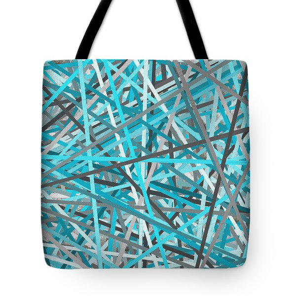 Link - Turquoise And Gray Abstract Tote Bag by Lourry Legarde