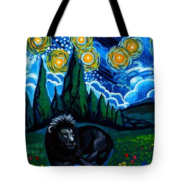Lion And Owl On A Starry Night Tote Bag by Genevieve Esson