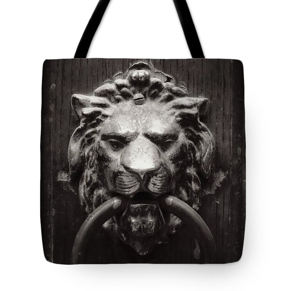 Lion Door Knocker Tote Bag by Carol Groenen