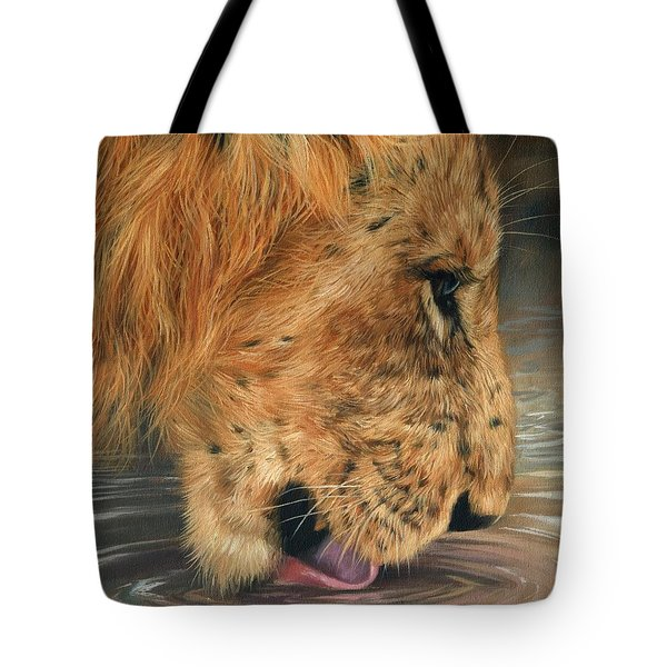 Lion Drinking Tote Bag by David Stribbling