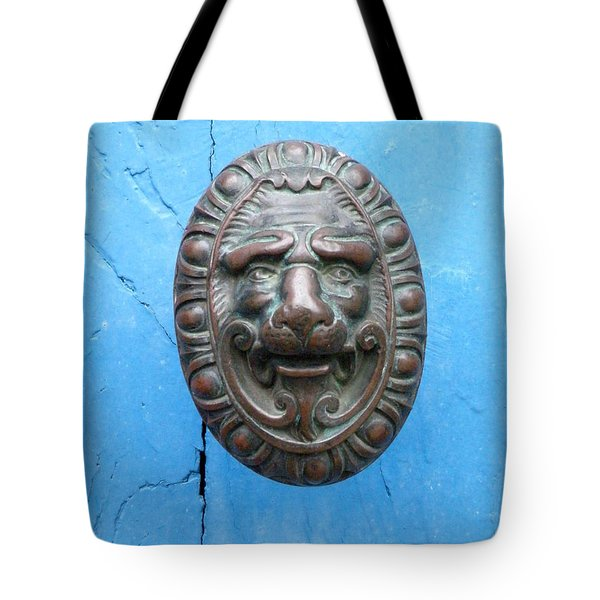 Lion Face Door Knob Tote Bag by Lainie Wrightson