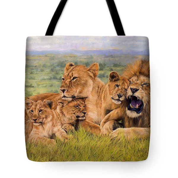 Lion Family Tote Bag by David Stribbling