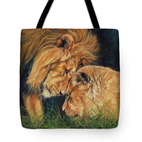 Lion  Love Tote Bag by David Stribbling