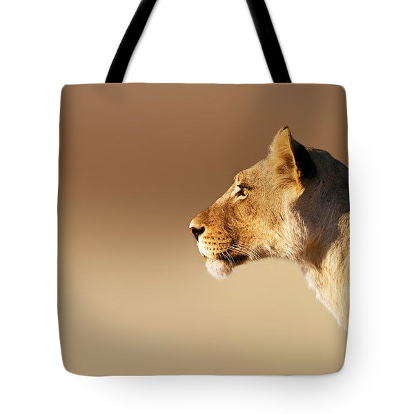 Lioness Portrait Tote Bag by Johan Swanepoel