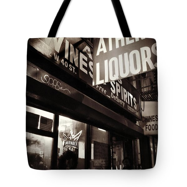 Liquor Shop - New York At Night Tote Bag by Miriam Danar