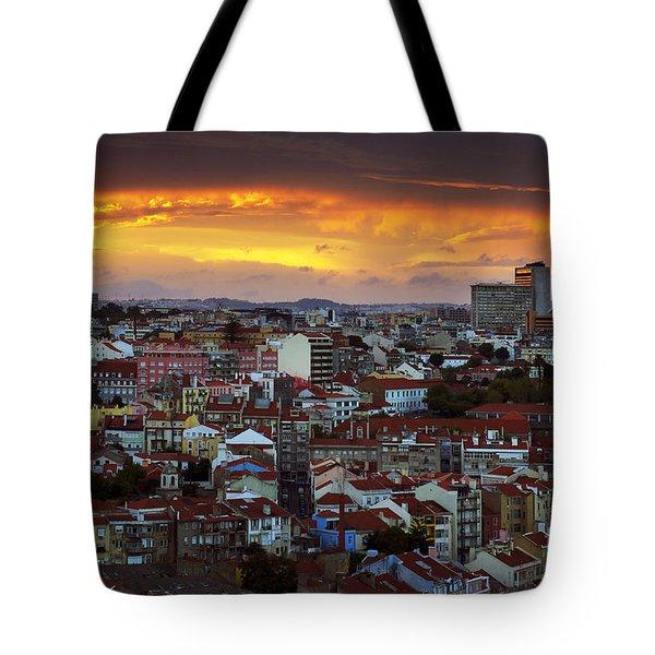 Lisbon at Sunset Tote Bag by Carlos Caetano