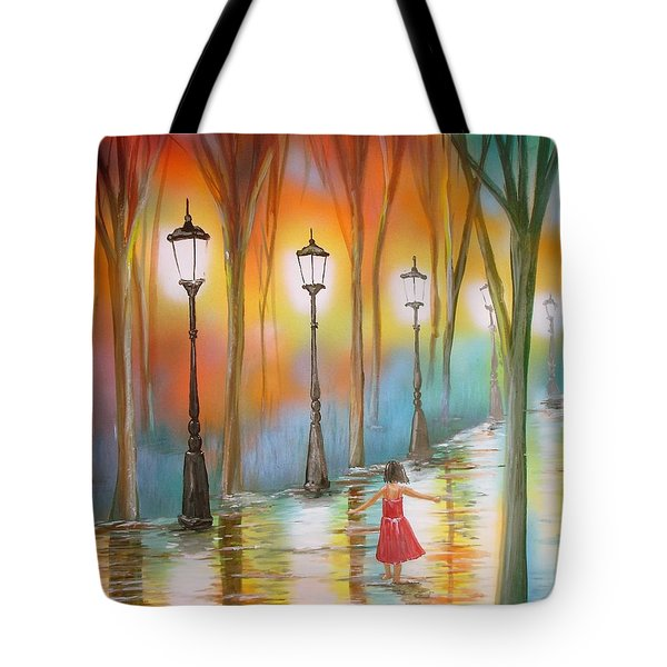 Little Debbie Playing In The Rain Tote Bag by Chris Fraser