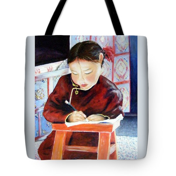 Little Girl From Mongolia Doing Her Homework Tote Bag by Barbara Jacquin