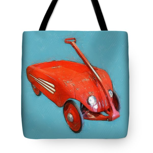 Little Red Wagon Tote Bag by Michelle Calkins