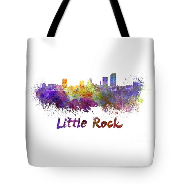 Little Rock Skyline In Watercolor Tote Bag by Pablo Romero