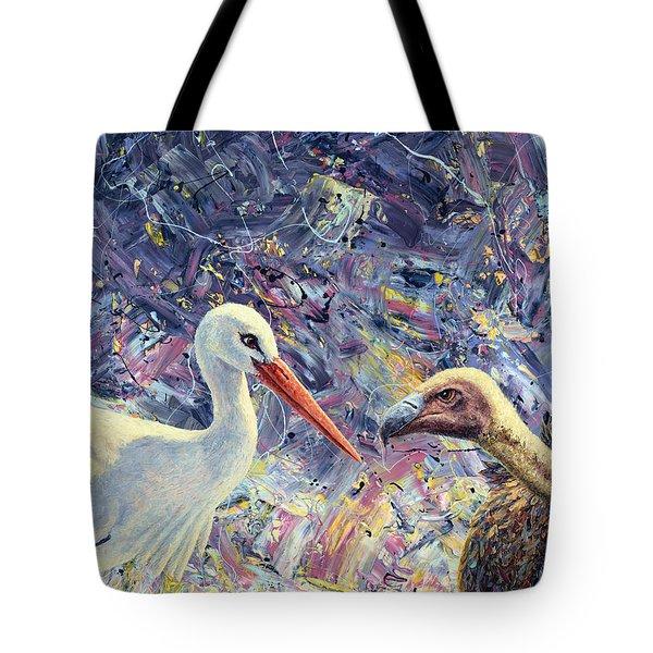 Living Between Beaks Tote Bag by James W Johnson