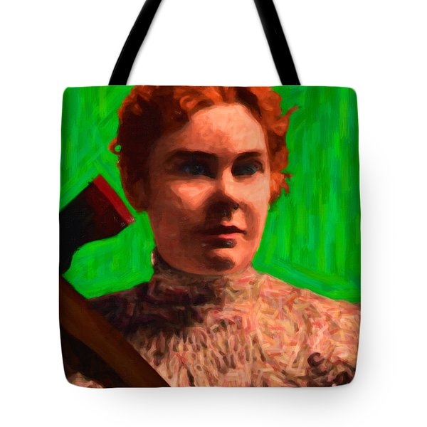 Lizzie Bordon Took An Ax - Painterly - Green Tote Bag by Wingsdomain Art and Photography