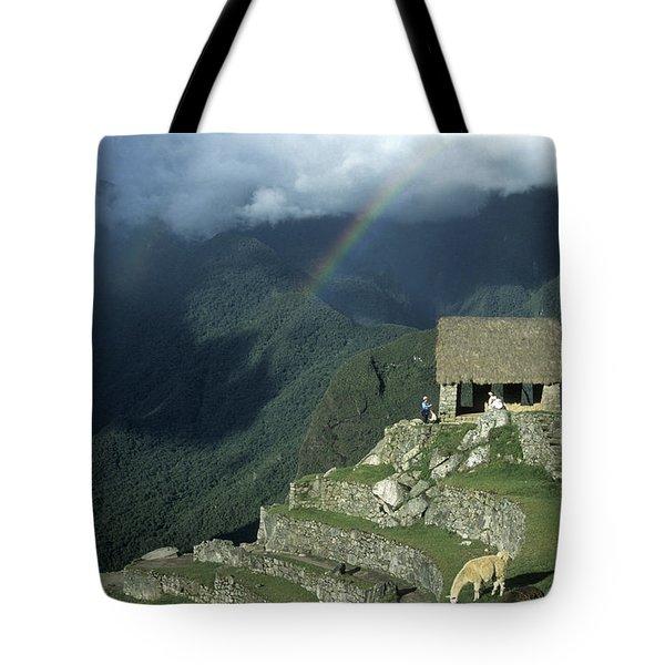 Llama And Rainbow At Machu Picchu Tote Bag by James Brunker