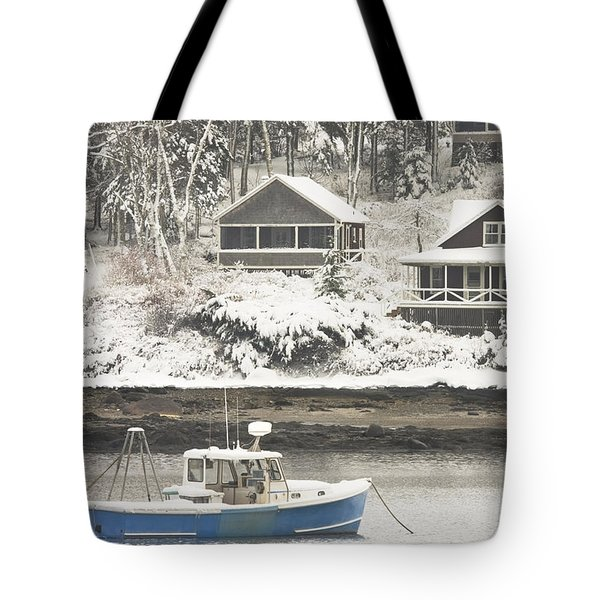 Lobster Boat After Snowstorm in Tenants Harbor Maine Tote Bag by Keith Webber Jr